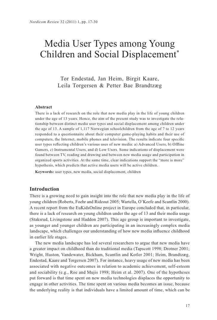 Nordicom Review 32 (2011) 1, pp. 17-30       Media User Types among Young      Children and Social Displacement*          ...