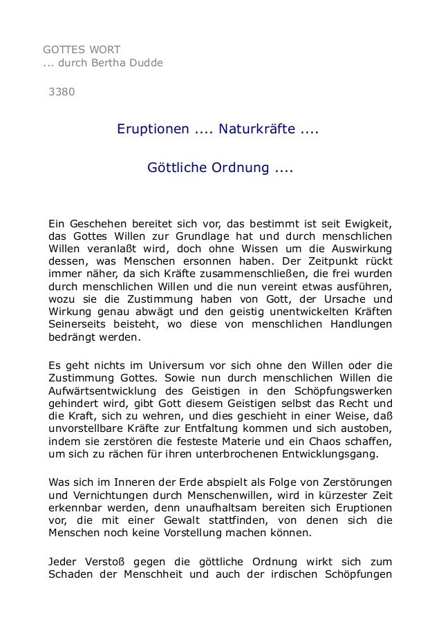 GOTTES WORT ... durch Bertha Dudde 3380 Eruptionen .... Naturkräfte .... Göttliche Ordnung .... Ein Geschehen bereitet sic...
