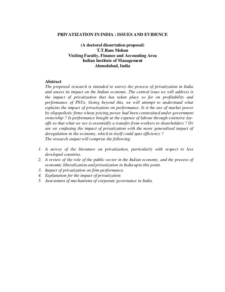 PRIVATIZATION IN INDIA : ISSUES AND EVIDENCE                       (A doctoral dissertation proposal)                     ...
