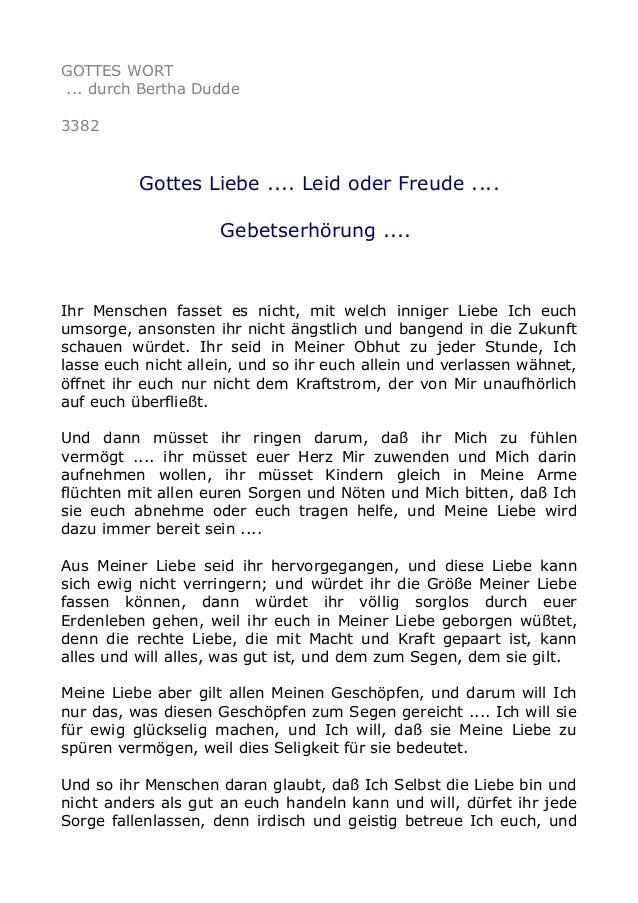 GOTTES WORT ... durch Bertha Dudde 3382 Gottes Liebe .... Leid oder Freude .... Gebetserhörung .... Ihr Menschen fasset es...