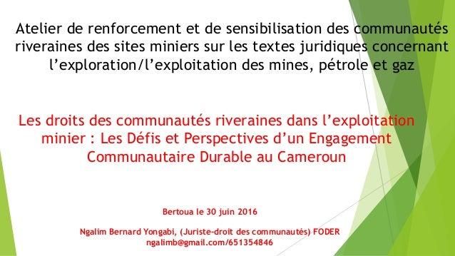 Atelier de renforcement et de sensibilisation des communautés riveraines des sites miniers sur les textes juridiques conce...