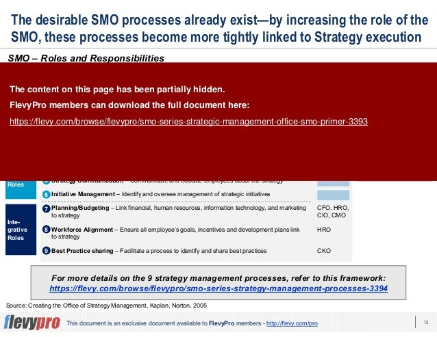 13This document is an exclusive document available to FlevyPro members - http://flevy.com/pro The desirable SMO processes ...