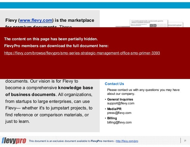 21This document is an exclusive document available to FlevyPro members - http://flevy.com/pro Flevy (www.flevy.com) is the...