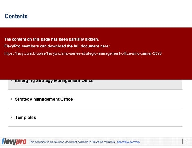7This document is an exclusive document available to FlevyPro members - http://flevy.com/pro Contents Overview Current Sta...