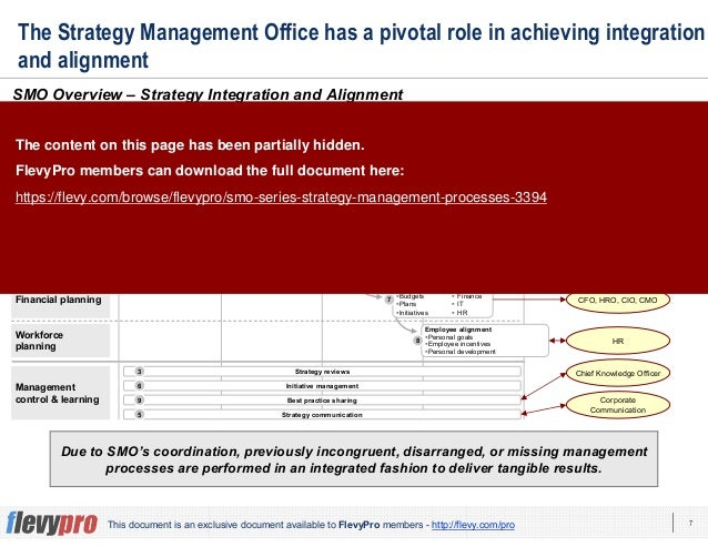 7This document is an exclusive document available to FlevyPro members - http://flevy.com/pro The Strategy Management Offic...