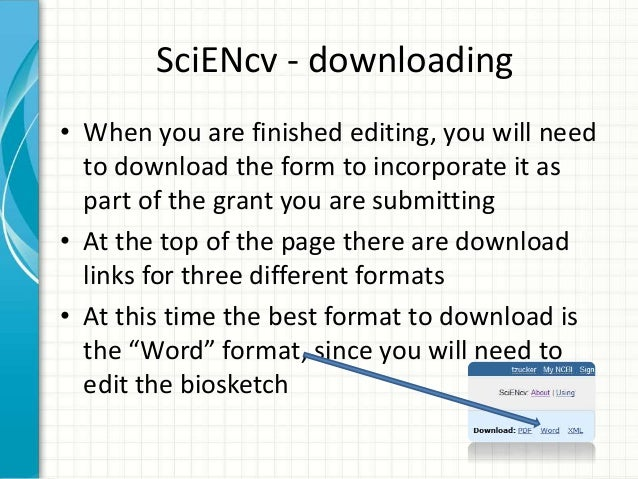 nih biosketch template word - the biosketch format sciencv and the paper