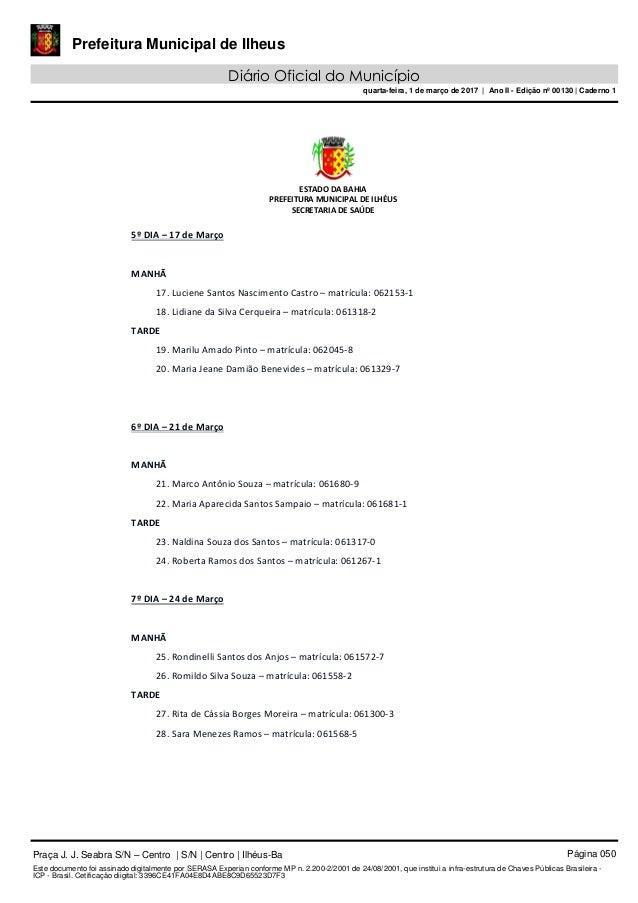 DIÁRIO OFICIAL DE ILHÉUS DO DIA 01-03-2017