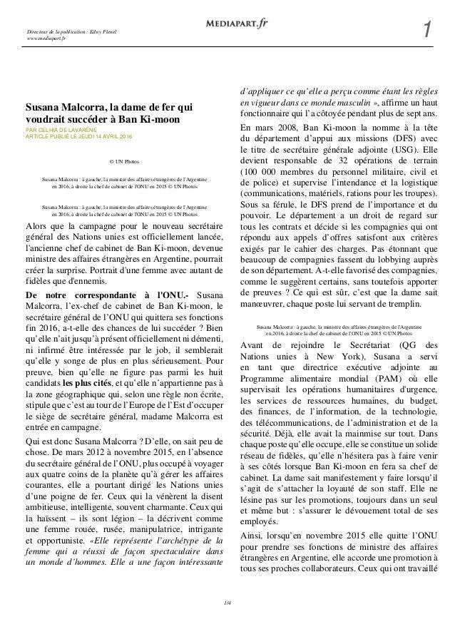 Directeur de la publication : Edwy Plenel www.mediapart.fr 1 1/4 Susana Malcorra, la dame de fer qui voudrait succéder à B...