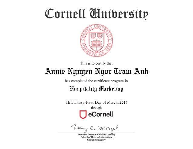 Cornell University Certificate - Hospitality Marketing