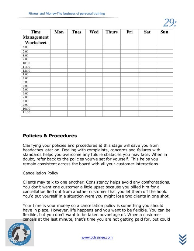 Fitness and Money – Personal Fitness Worksheet