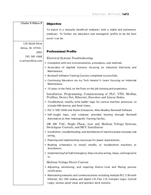 revised automation resume