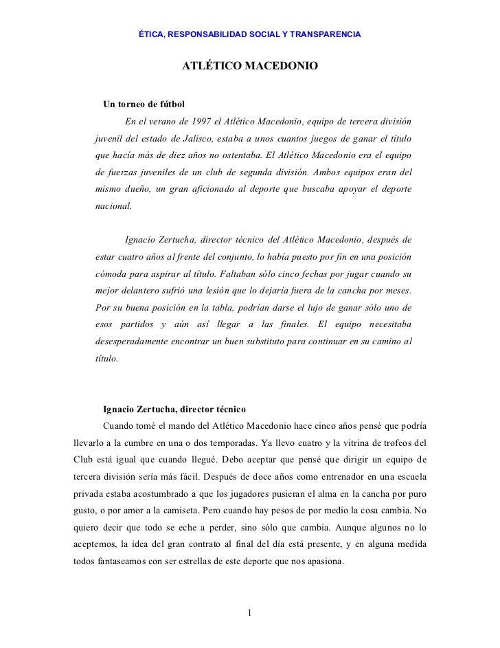 ÉTICA, RESPONSABILIDAD SOCIAL Y TRANSPARENCIA                            ATLÉTICO MACEDONIO       Un torneo de fútbol     ...