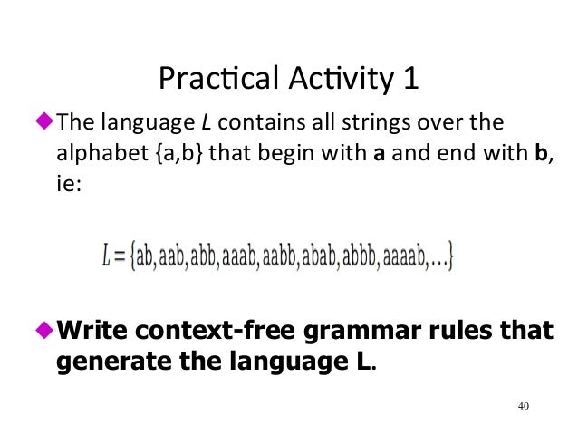 context free grammars 51 natural language, syntax and context-free grammar natural language has  an underlying structure usually referred to under the heading of syntax.