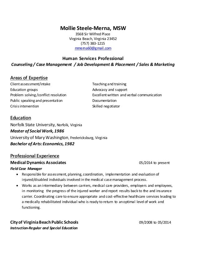 Mollie SteeleMerna MSW resume