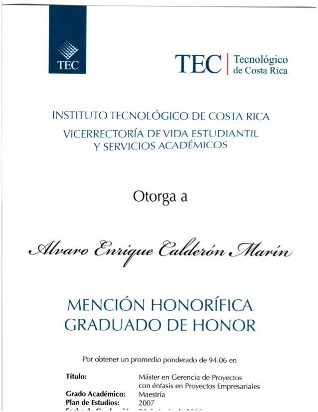 Maestría en Gerencia de Proyectos ITRC (Alvaro Calderón Marín)