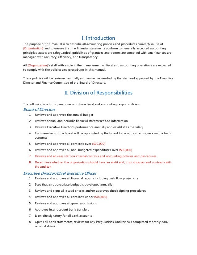 Accounting policies and procedures sample for Petty cash policy template