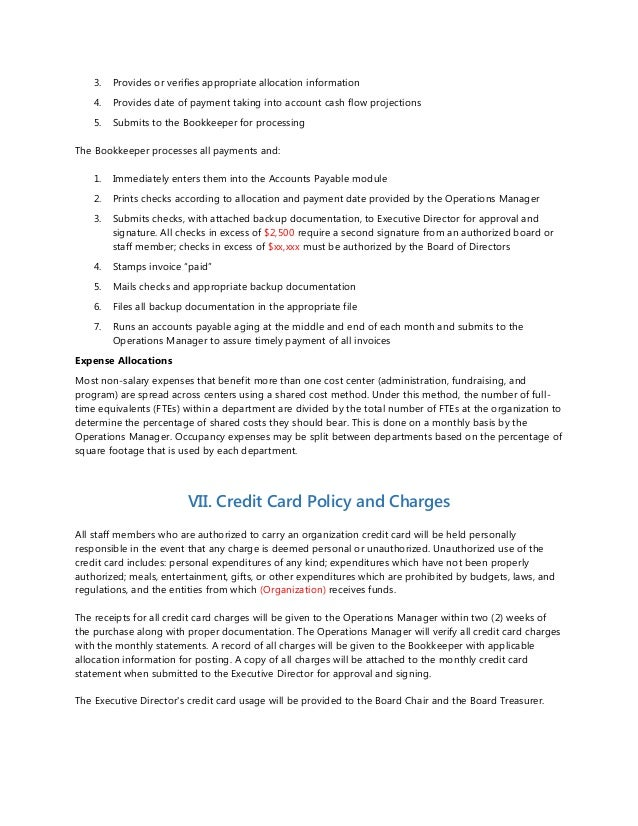 Accounting Policies and Procedures Sample