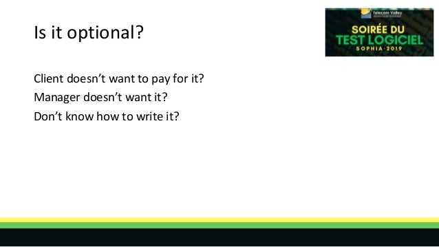 Is it optional? Client doesn't want to pay for it? Manager doesn't want it? Don't know how to write it?