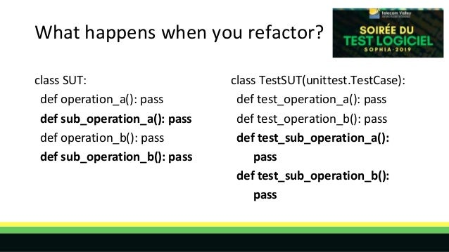 What happens when you refactor? class SUT: def operation_a(): pass def sub_operation_a(): pass def operation_b(): pass def...