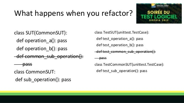 What happens when you refactor? class SUT(CommonSUT): def operation_a(): pass def operation_b(): pass def common_sub_opera...