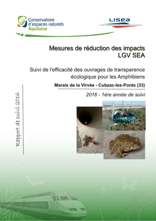 Suivi de la réduction pour les amphibiens sur la LGV SEA – Transparence amphibiens / LISEA Conservatoire d'espaces naturel...