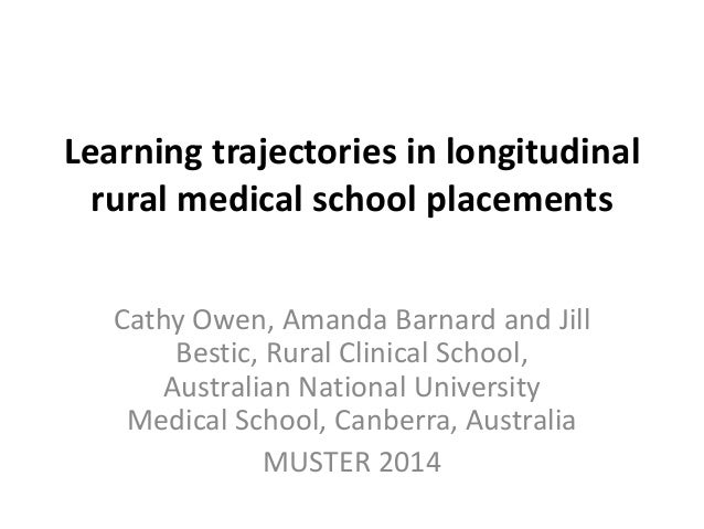 Learning trajectories in longitudinal  rural medical school placements  Cathy Owen, Amanda Barnard and Jill  Bestic, Rural...