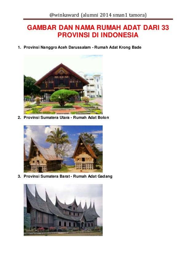 33 provinsi di indonesia dan nama rumah adatnya 1 638