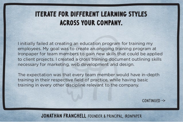 Iterate for different learning styles  across your company.  %*%0%((5%(! 0.!0%*#*! 10%+*,.+#.)+.0.%*%*#)5  !),(+5!!/ċ 5#+...