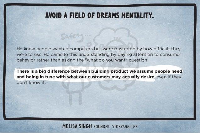 Avoid a Field of Dreams mentality.  $!*3!!(%!2!3$+(!$!.0! (50$0+1.,.+ 10%/#+%*#0+)!!0)+.  *!! Č/! +*,!./+*(!4,!.%!*!Č3!2+%...