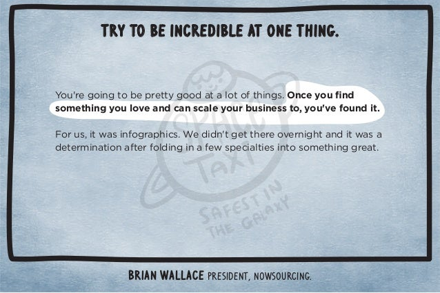 Try to be incredible at one thing.  Brian Wallace President, NowSourcing.