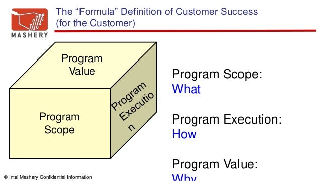 """© Intel Mashery Confidential Information The """"Formula"""" Definition of Customer Success (for the Customer) Program Scope Pro..."""