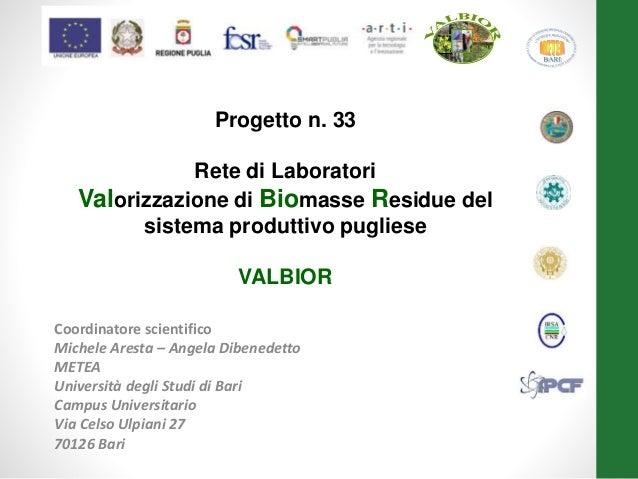 Coordinatore scientifico Michele Aresta – Angela Dibenedetto METEA Università degli Studi di Bari Campus Universitario Via...