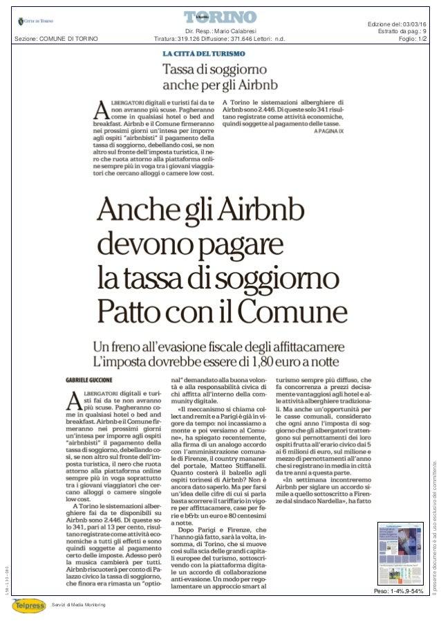 Repubblica - Anche gli Airbnb devono pagare la tassa di soggiorno. Pa…