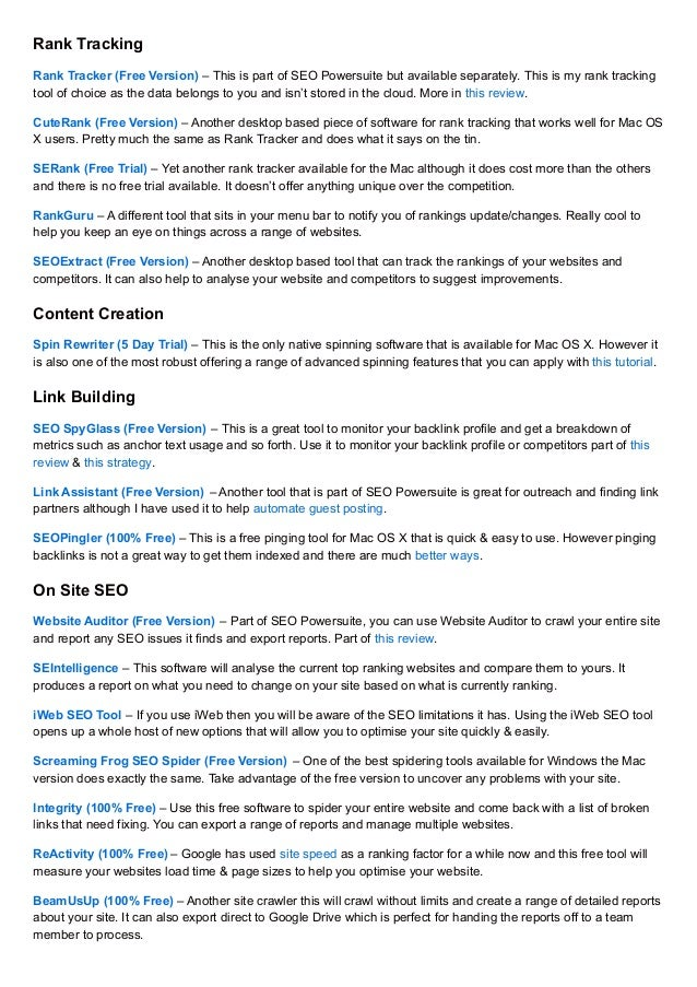 33 SEO & Internet Marketing Tools For Mac OS X