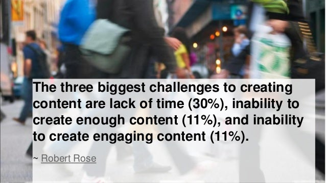 The three biggest challenges to creating content are lack of time (30%), inability to create enough content (11%), and ina...