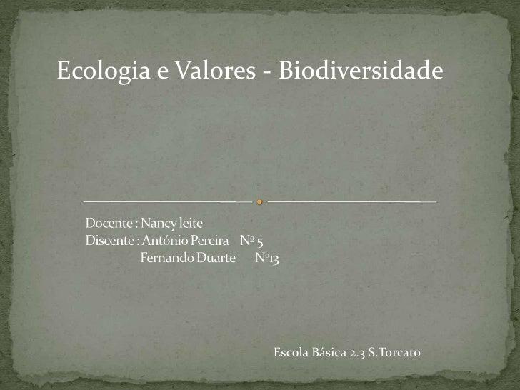 Ecologia e Valores - Biodiversidade                   Escola Básica 2.3 S.Torcato