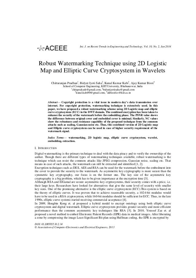 Int. J. on Recent Trends in Engineering and Technology, Vol. 10, No. 2, Jan 2014  Robust Watermarking Technique using 2D L...
