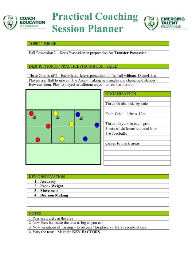 TOPIC / THEME Ball Possession 2 – Keep Possession in preparation for Transfer Possession DESCRIPTION OF PRACTICE (TECHNIQU...