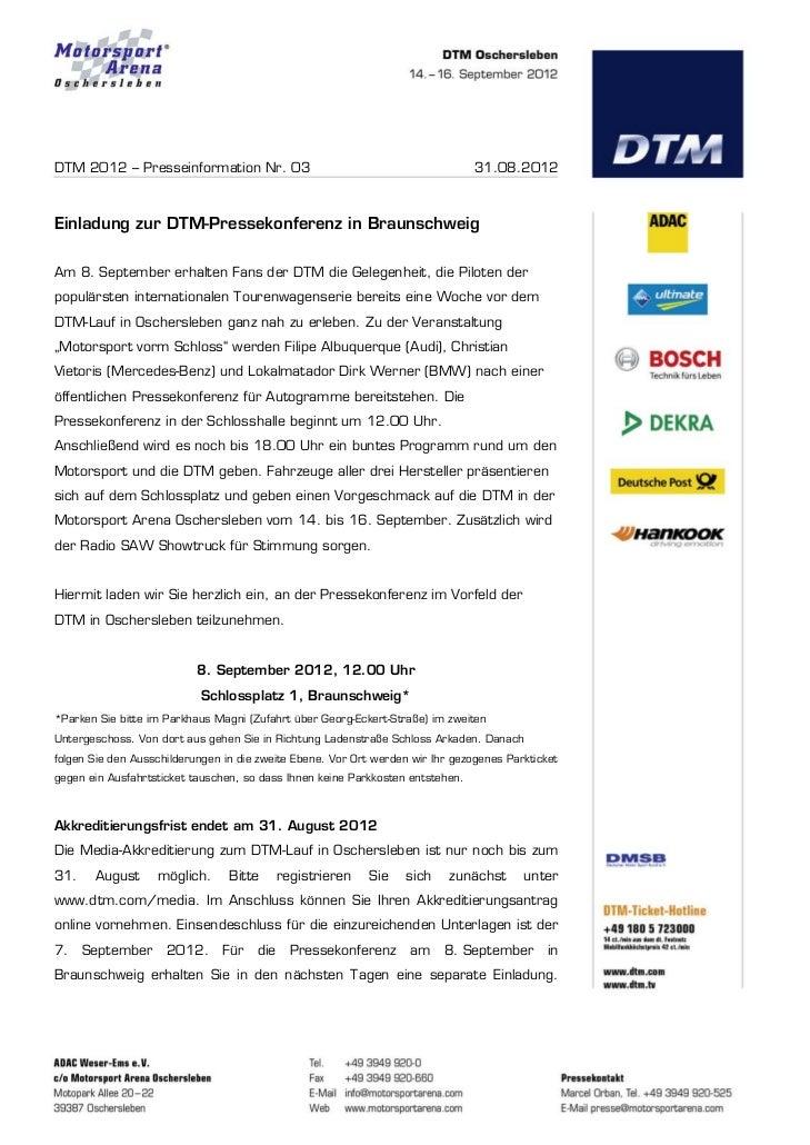 DTM 2012 – Presseinformation Nr. 03                                             31.08.2012Einladung zur DTM-Pressekonferen...