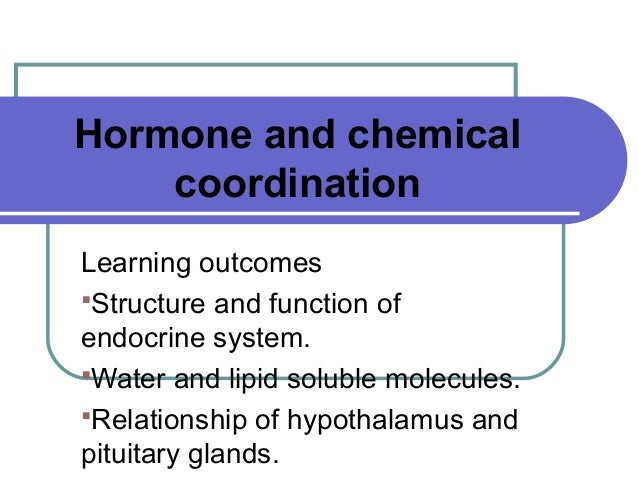 Hormone and chemical coordination Learning outcomes Structure and function of endocrine system. Water and lipid soluble ...