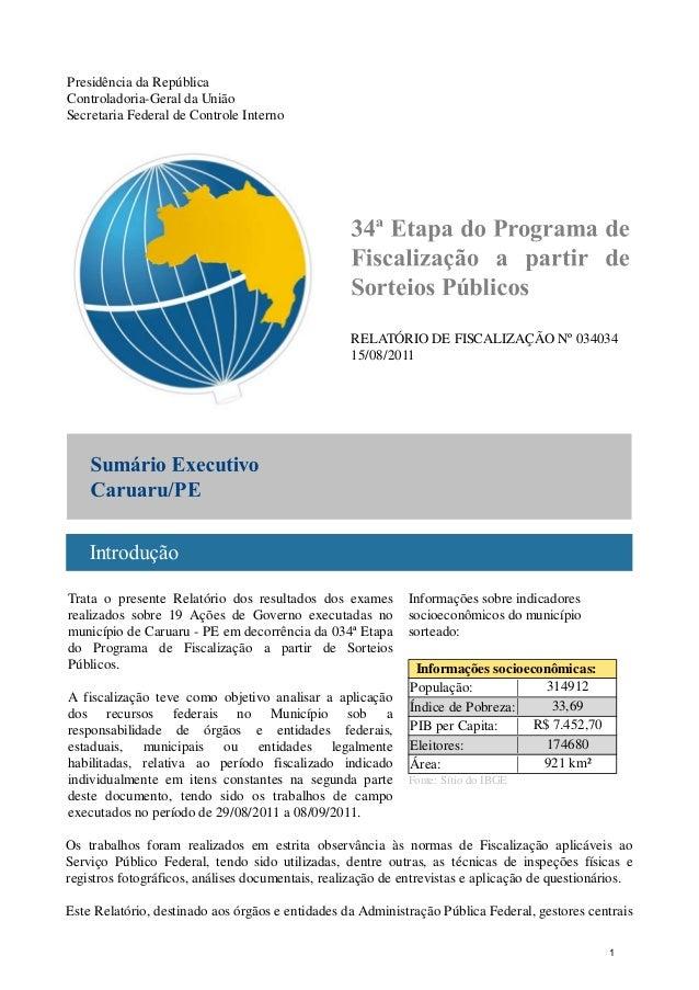 Presidência da República Controladoria-Geral da União Secretaria Federal de Controle Interno RELATÓRIO DE FISCALIZAÇÃO Nº ...