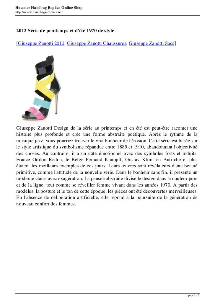 Hownice Handbag Replica Online Shophttp://www.handbags-replica.net2012 Série de printemps et dété 1970 de style[Giuseppe Z...
