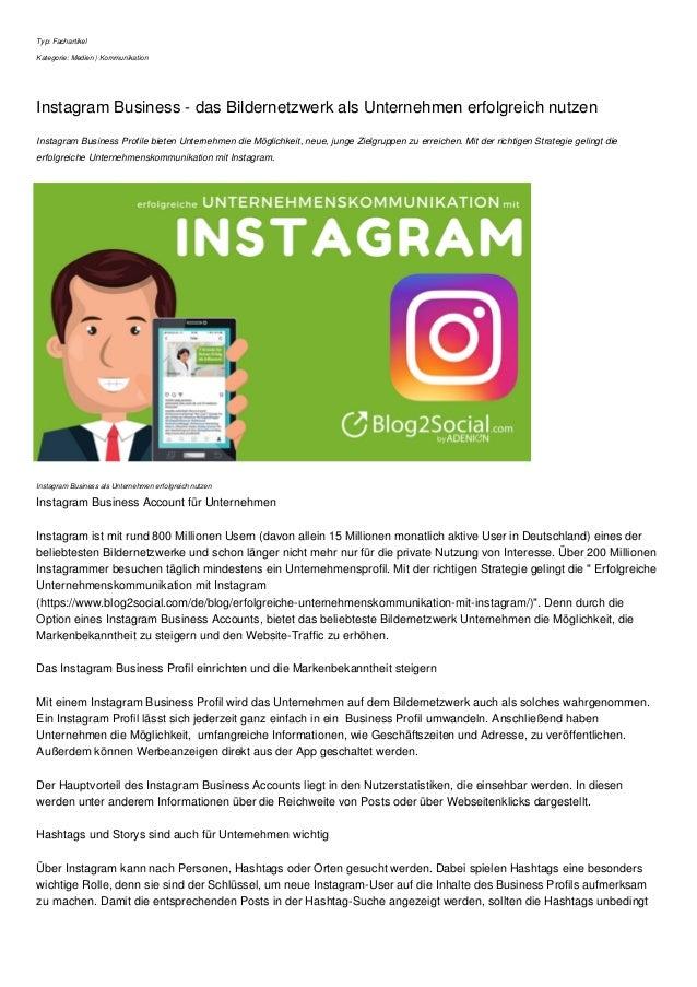 Typ: Fachartikel Kategorie: Medien | Kommunikation Instagram Business - das Bildernetzwerk als Unternehmen erfolgreich nut...