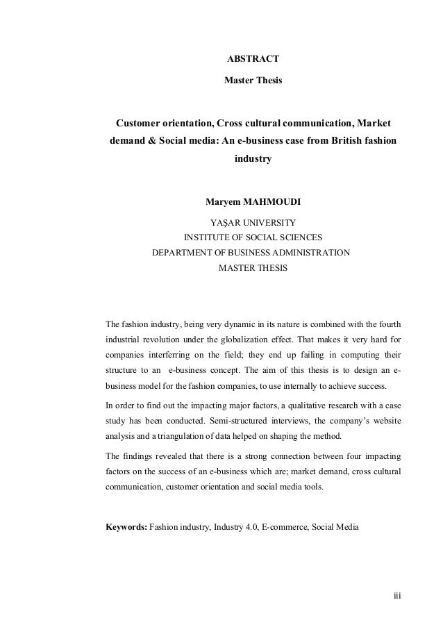 thesis on fashion industry