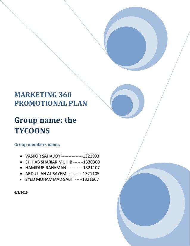 360 Marketing Promotional Plan
