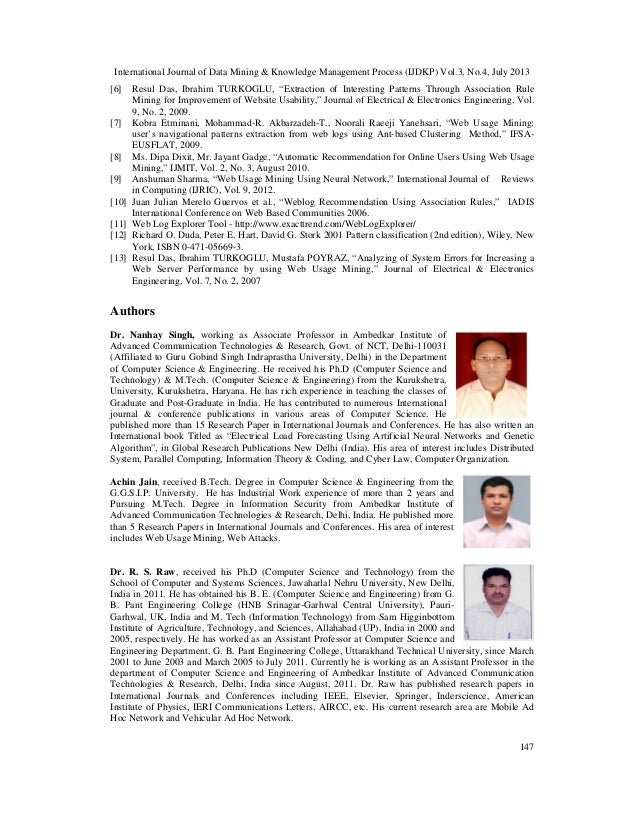 International Journal of Data Mining & Knowledge Management Process (IJDKP) Vol.3, No.4, July 2013 147 [6] Resul Das, Ibra...