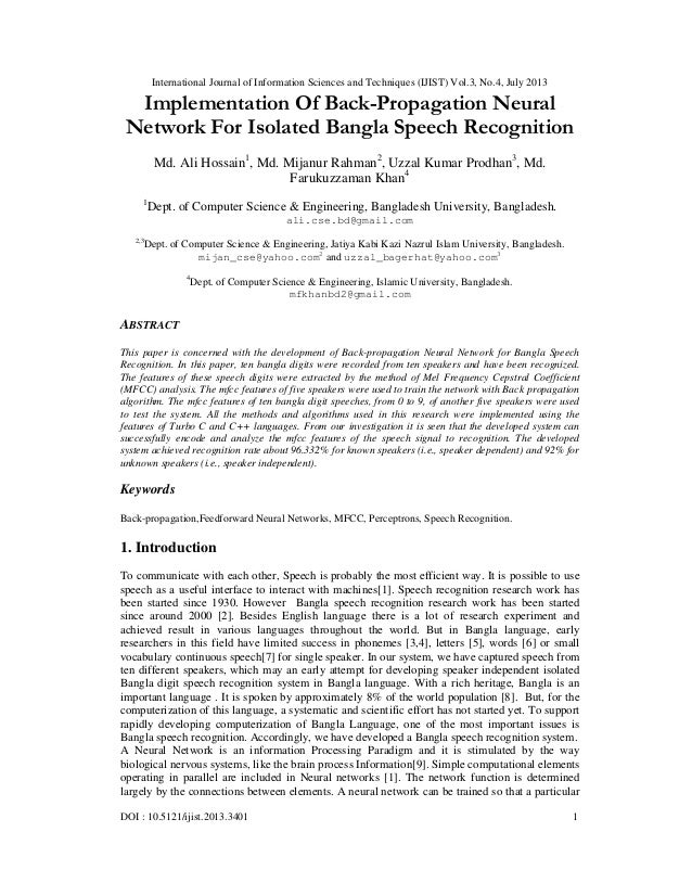 International Journal of Information Sciences and Techniques (IJIST) Vol.3, No.4, July 2013 DOI : 10.5121/ijist.2013.3401 ...