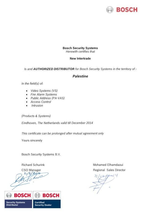 bosch certificate
