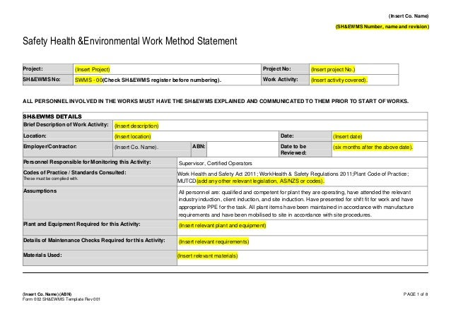 Form   Safe Work Method Statement Template