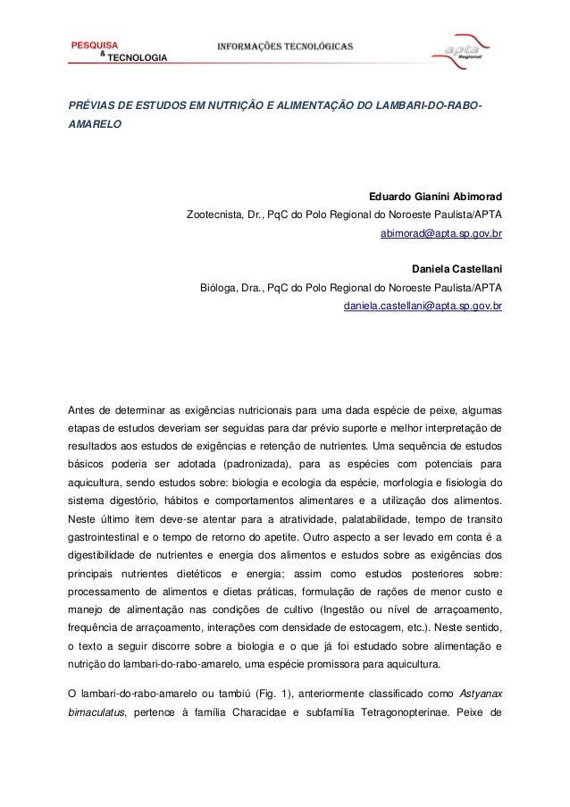 PRÉVIAS DE ESTUDOS EM NUTRIÇÃO E ALIMENTAÇÃO DO LAMBARI-DO-RABOAMARELO  Eduardo Gianini Abimorad Zootecnista, Dr., PqC do ...